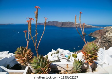 View from balcony in Thira on Santorini island, Greece