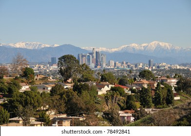 View from Baldwin Hills to Los angeles down town and San Bernardino mountains