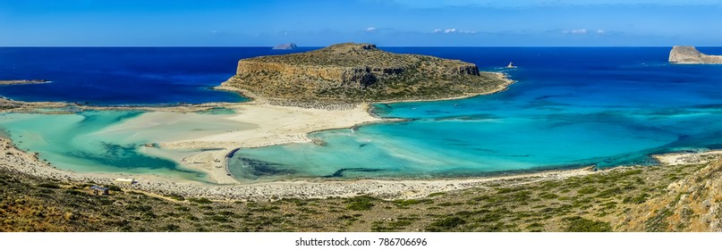 The view of Balos Beach and Gramvousa, Crete on a bright sunny day
