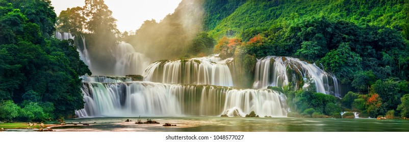 "view of "" Ban Gioc "" waterfall, Cao Bang, Vietnam. "" Ban Gioc "" waterfall is one of the top 10 waterfalls in the world."