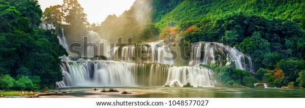 """view of """" Ban Gioc """" waterfall, Cao Bang, Vietnam. """" Ban Gioc """" waterfall is one of the top 10 waterfalls in the world."""