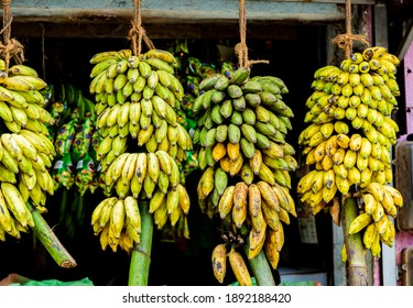 View at bananas on the fruit stand on a market at Sri Lanka