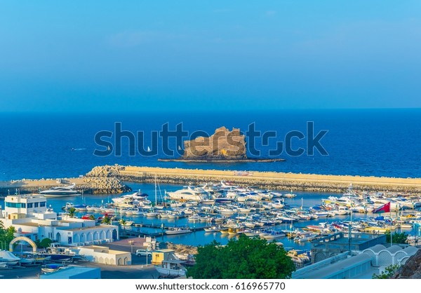 View of the Bandar Al Rowdha marina in Muscat, Oman.