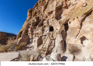 View of Bandelier National Monument near Los Alamos, New Mexico. The monument preserves the homes and territory of the Ancestral Puebloans, most of the pueblo structures dating between 1150-1600 AD.
