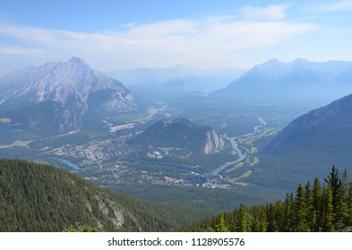 View of Banff from the top of Banff Gondola