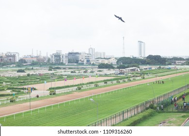 A view of the Bangalore Turf club from the stands with an eagle hovering in Bengaluru,India on June 10,2018