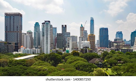 View of Bangkok citscape, high building and public park