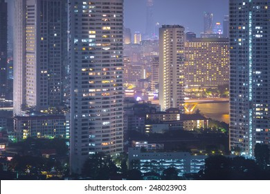 view of Bangkok city scape at nighttime