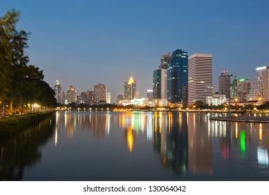 View of Bangkok cityscape at twilight