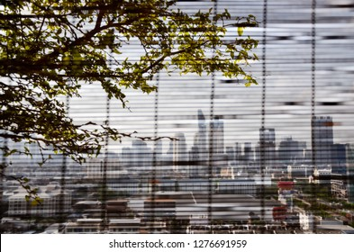 View of Bangkok cityscapes with a tree on foreground through a bamboo blind on a bright sky day. (Blurred skyscraper in downtown on backdrop)
