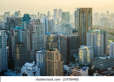 View of Bangkok skyline in the evening. This picture was taken at the commercial center of Bangkok, Thailand.
