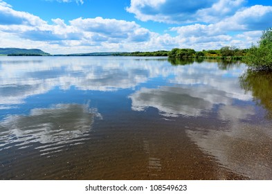 View from the banks of Loch Leven (Loch Lìobhann) in Perth and Kinross Scotland.