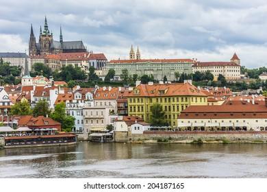 View banks of the Vltava River and Prague. Czech Republic.