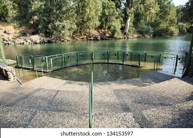 A view at the baptismal place at the Jordan river in Israel. This site is believed by some traditions as the site where Jesus was baptized. Many Christian pilgrims come to perform baptism ceremonies.