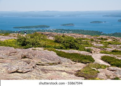 View of Bar Harbor from the summit of Cadillac Mountain. At 1,532 feet, Cadillac Mountain in Acadia National Park is the highest point along the North Atlantic seaboard.