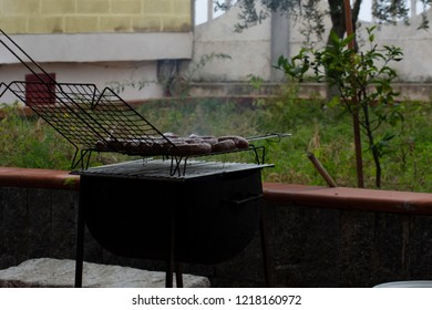 View of barbecue of italian sausage