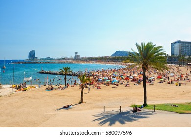 View of Barcelona beach on a summer day