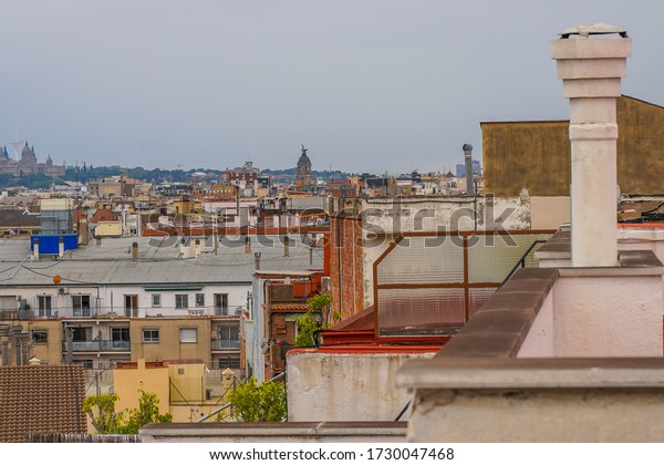 View of Barcelona with Buildings in Eixample District. Spain