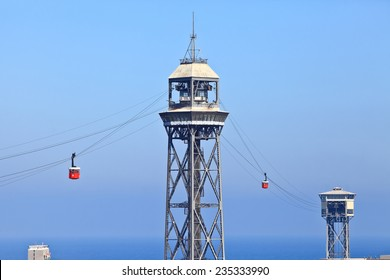 View of Barcelona cableway from Montjuic. Barcelona funicular.