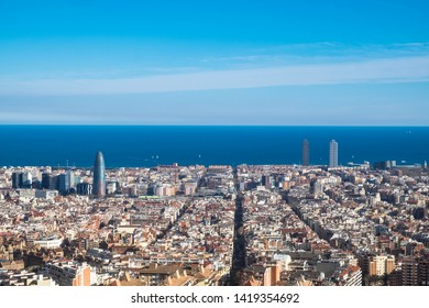 View of Barcelona city from Bunkers del Carmel hill, Spain