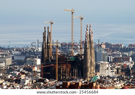 View Barcelona City Famous Sacred Family Stock Photo Edit Now