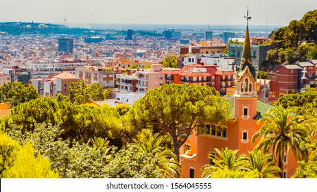 View of the Barcelona city from Park Guell, Spain