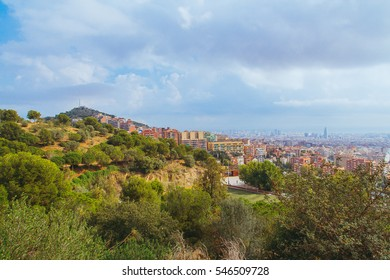 View of Barcelona city from Tibidabo hill.
