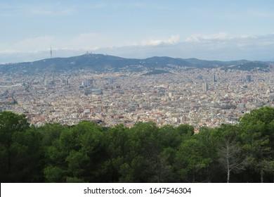 View of Barcelona cityscape from Montjuïc Castle in Spain