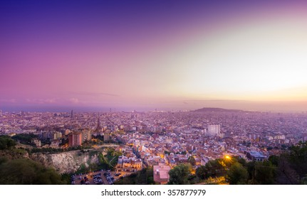 View of Barcelona from El Carmel hill at sunset