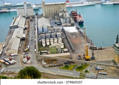View of the Barcelona harbour. Tilt Shift Effect.