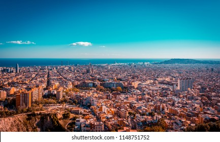 View of Barcelona, the Mediterranean sea. View of the city from the Bunker of Carmel famous viewpoint.Teal and orange look