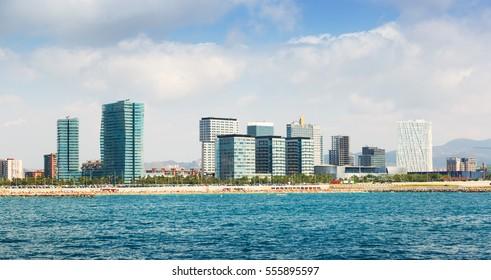 View of Barcelona from Mediterranean. Skyscraper of Sant Marti district