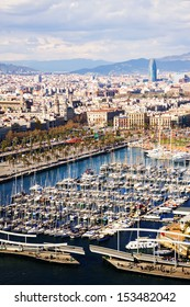 view of Barcelona from Port Vell side in cloudy day. Catalonia, Spain