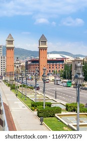 View of Barcelona, Spain Plaza de Espana afternoon in Barcelona, Spain - May 17, 2018.