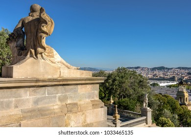 View of Barcelona from the steps of the national Museum of art of Catalonia