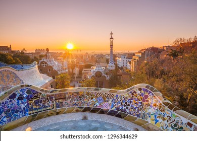 View of barcelone from the park at sunrise