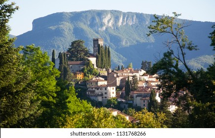 "View of Barga, one of the ""most beautiful villages in Italy"", a prestigious tourist quality brand in Lucca, Tuscany"