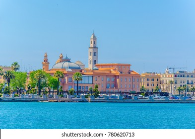 View of the Bari waterfront dominated by the Margherita theater and San Sabino Cathedral, Italy.