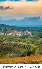 View of Barolo town (Piedmont, Italy) panorama, the medieval castle and the vineyards. Barolo is the main village of the Langhe wine region