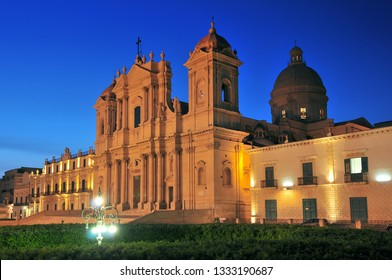 View of baroque style cathedral in old town Noto Sicily Italy.