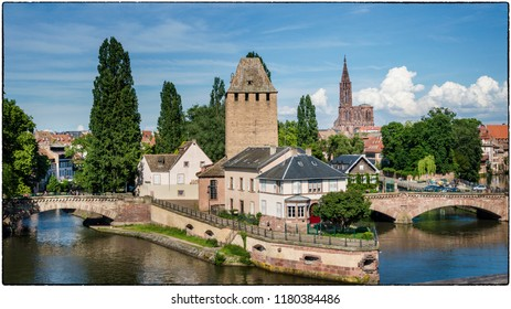 View from Barrage Vauban on the Petite France Quarter  in Strasbourg, France