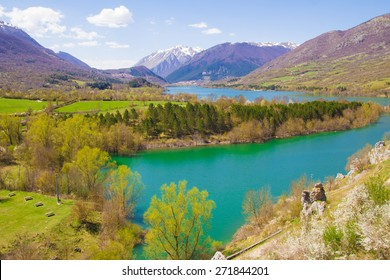 A view of Barrea lake in the national park of Abruzzo, Italy.