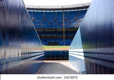 View of baseball stadium from ground level.