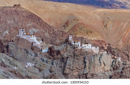 View of basgo Gompa located at cliff in Ladakh, India