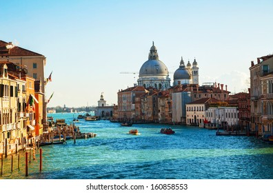 View to Basilica Di Santa Maria della Salute in Venice on a sunny day
