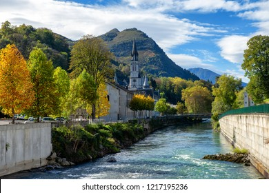 a view of the basilica of Lourdes in autumn, France