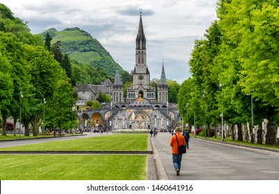 View of the basilica of Lourdes city in France