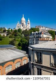 View of Sacré-Cœur basilica in Montmartre, Paris France