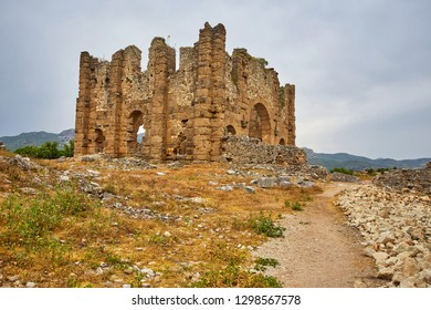 View of the basilica ruins in ancient Greco-Roman city Aspendos near Antalya, Turkey