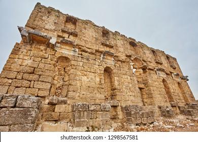 View of the basilica ruins in ancient Greco-Roman city Aspendos near Antalya, Turkey